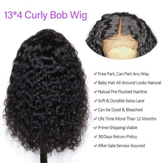Short Curly Bob Wigs Brazilian Virgin Human Hair 13x4 Lace Front Wigs Kinky Curly Hair For Black Women Pre Plucked with Baby Hair