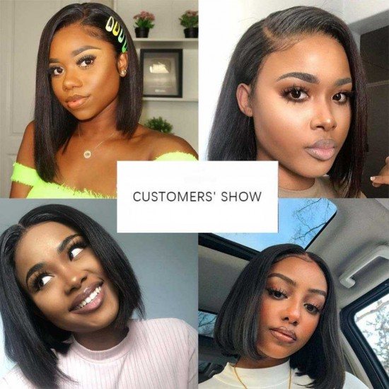 Straight Short Bob Wig Lace Frontal  Wig Pre Plucked 100% Human Hair Wigs Super Soft