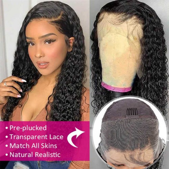 Curly HD Lace Wig Human Hair Transparent Lace Front Wigs Human Hair 13x4 13x6 Lace Front Human Hair Wigs for Black Women Pre Plucked Hairline