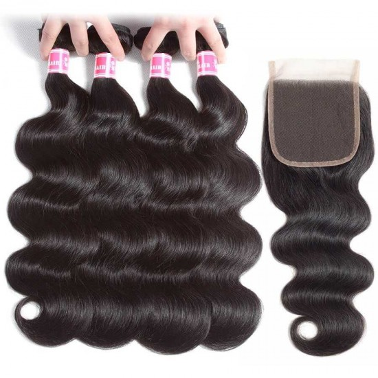 Brazilian Body Wave Hair Bundles Virgin Human Hair Bundles With Closure Unprocessed Human Hair Weave Natural Color