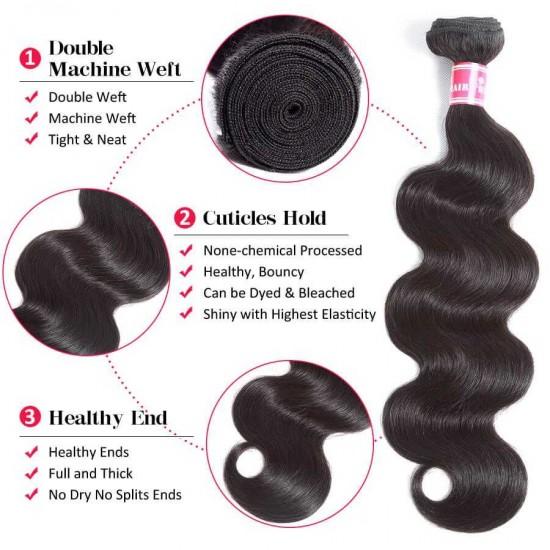 Brazilian Body Wave Hair Bundles Virgin Human Hair Bundles With Closure Unprocessed Human Hair Weave Natural Color