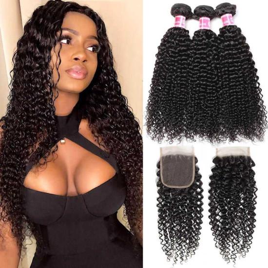 Brazilian Curly Hair Bundles Virgin Human Hair Bundles With Closure Unprocessed  Curly Human Hair Weave