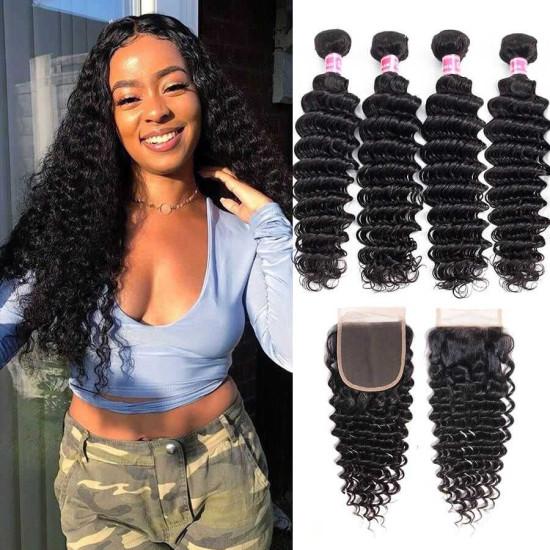 Brazilian Deep Wave Hair Bundles 100% Unprocessed Human Hair Bundles With Closure Deep Curly Human Hair Weave