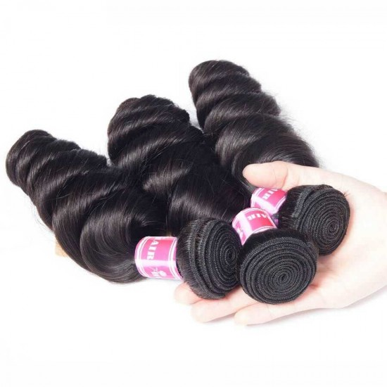Brazilian Loose Wave Hair Bundles Virgin Human Hair Bundles With Closure 3 / 4 Bundles Loose Wave Human Hair Weave