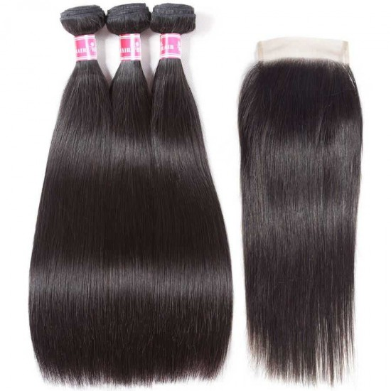 Brazilian Straight Hair Bundles With Closure Virgin Human Hair Bundles with Closure Unprocessed Virgin Hair 3 Bundles 4 Bundles Natural Color Hair Weave