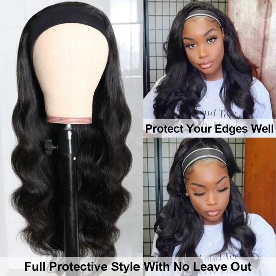 Glueless Long Headband Wigs Natural Looking Wavy Synthetic Half Wig