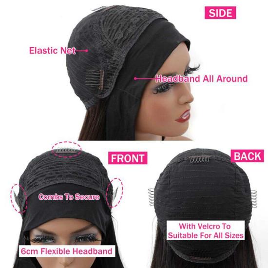Body Wave Headband Wig Human Hair Wigs for Black Women Glueless Scarf Headband Wig None Lace Headband Wigs