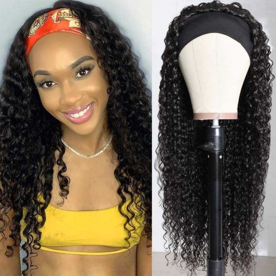 Curly Headband Wig Human Hair Wigs for Black Women Brazilian Curly None Lace Front Wigs Human Hair Scarf No Gel Glueless Remy Hair Wig