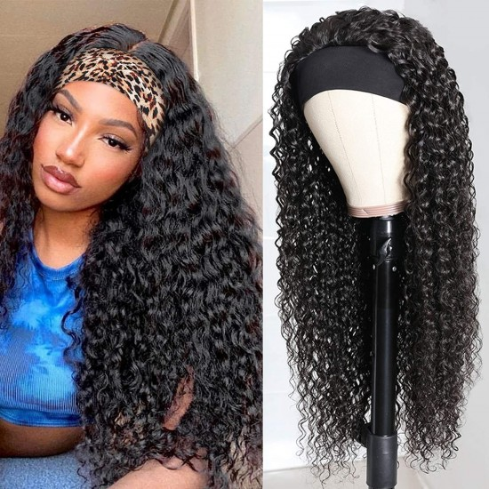 Deep Wave Headband Wig Human Hair Deep Culry Headband Human Hair Wigs for Black Women Brazilian Scarf Wigs Natural Color