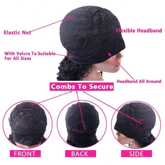 Deep Wave Headband Wig Human Hair Deep Culry Headband Human Hair Wigs for Black Women Brazilian Scarf Wigs Natural Color
