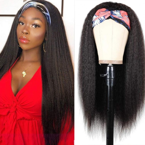 Kinky Straight Headband Wig Human Hair Yaki Headband Wigs for Black Women Brazilian Scarf Wigs Easy Wear