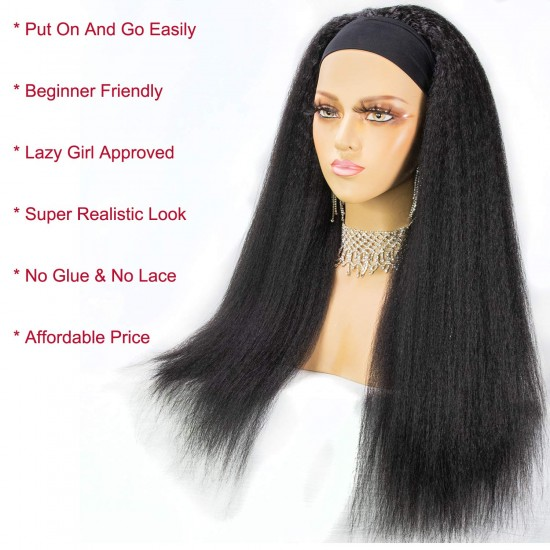 Kinky Straight Headband Wig Human Hair Yaki Headband Wigs for Black Women Brazilian Scarf Wigs Easy Wear