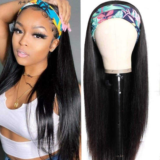 Headband Wig Straight Human Hair Wigs for Black Women Glueless Hair Band Wig Machine Made Half Wigs with Headbands