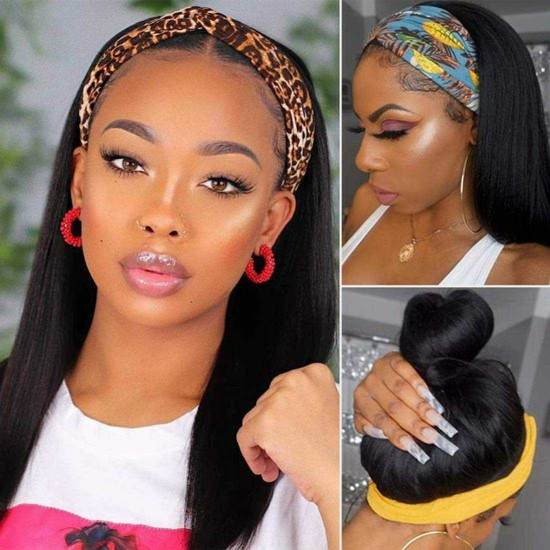 Headband Wig Straight Human Hair Wigs for Black Women Glueless Hair Band Wig Machine Made Half Wigs with Headbands