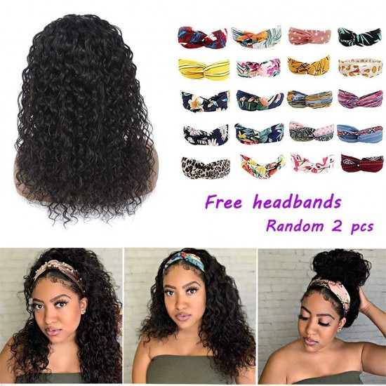 Headband Wig Water Wave Human Hair Wigs for Black Women Wet And Wavy Human Hair Scarf No Gel Glueless Remy Hair Wigs for Black Women