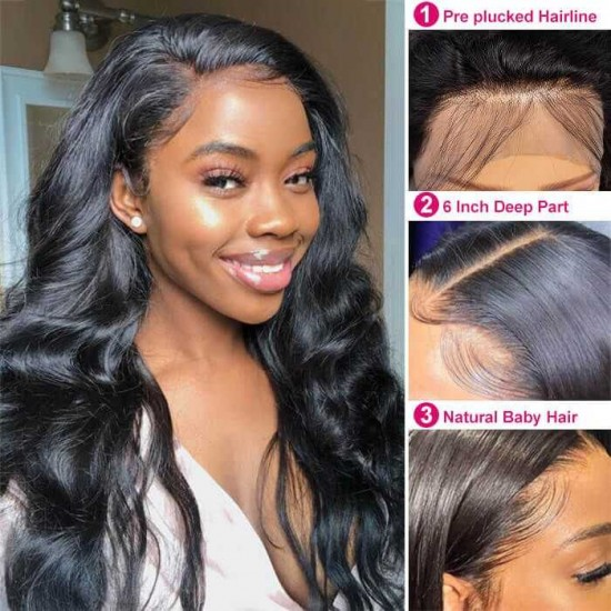 Body Wave Lace Front Wigs Human Hair for Black Women 9A Brazilian Human Hair Lace Front Wigs Pre Plucked with Baby Hair Natural Hairline Wigs