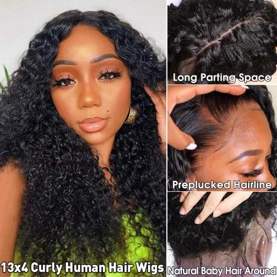 Curly Lace Front Wigs Human Hair 360 Lace Frontal Human Hair Wigs Pre Plucked Hairline 13x4 13x6 Kiinky Curly Lace Front Wigs With Baby Hair Brazilian Lace Wigs for Black Women