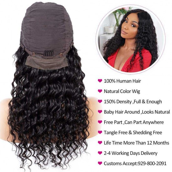 Deep Wave Lace Front Wigs Human Hair Brazilian Virgin Human Hair Wigs 13x4 13x6 Lace Front Wig for Black Women 360 Lace Frontal Wigs Deep Part  Lace Front Wigs