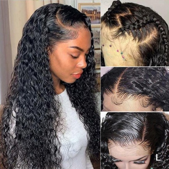Water Wave 180% Density HD 13X4 Lace Front Wig Pre Plucked Best Human Hair
